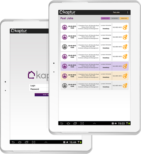 login to Kaptur tablet for clerks, agents & managers